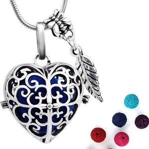 Jewelry - Essential oil diffuser necklace locket heart